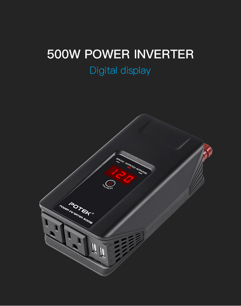 Potek | 750W Inverter with Digital Display Black